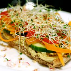 Hummus and Vegetable Sandwiches Recipe with salt, garlic cloves, garbanzo, tahini, fresh lemon juice, olive oil, ground cumin, water, fresh parsley leaves, pitas, seedless cucumber, carrots, sweet onion, radishes, alfalfa sprouts, sesame seeds