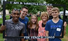 (Bowling Green State University, Ohio) Campus Festival. Whistle blowers for peace posing at campus fest.