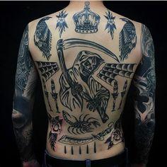 Search inspiration for an Old School tattoo. Traditional Back Tattoo, Tattoos For Guys, Cool Tattoos, Grim Reaper Tattoo, Dark Tattoo, Chest Tattoo, Body Mods, Black Tattoos, Tattoo Inspiration