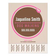 """Dog Walker Walking Leash Loop Pink Tear Sheet 8.5"""" X 11"""" Flyer"""