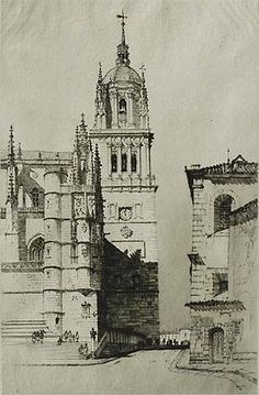 The Cathedral, Salamanca - SAMUEL CHAMBERLAIN American, (1895-1975)  Drypoint, 1929, Chamberlain/Kingsland 75, edition 100. 10 3/4 x 7 in. Signed and titled in pencil.