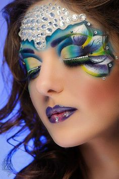 Stunning crystal enhanced fantasy make-up by QNA Makeup Art.