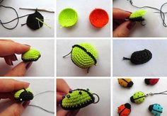 ergahandmade: Crochet Ladybug Κeyring + Diagrams + Free Pattern Step By Step