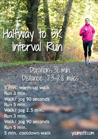 Halfway to 5K: an interval run for beginner 5K training.
