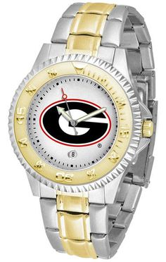 Georgia Bulldogs Mens Or Ladies Competitor Two-Tone Watch With Anochrome Dial