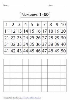 Printable Number Chart 1 50   Preschool worksheets ...