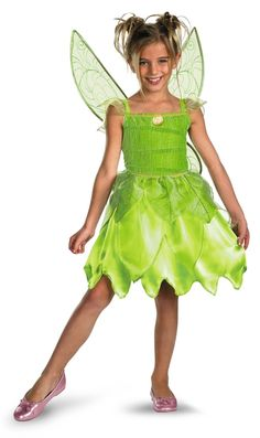 Toddler's  Tinker Bell Fairy Halloween Costume - This is a Tinker Bell costume from the Disney movie Peter Pan. Tink is a one piece dress made from a soft satin material that has a Velcro closure in the back. The skirt and top have layers of the satiny fabric and has organza tattered like straps. There is also a decorative Tinkerbell emblem on the chest with soft sparkly organza around it. #fairy #tinkerbell #fairytale #yyc #costume #calgary