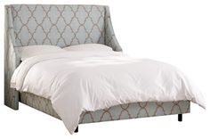 Swoop Arm Wingback Bed in Spring Breeze Mineral - transitional - beds - Walter E. Smithe Furniture Inc/The Mark