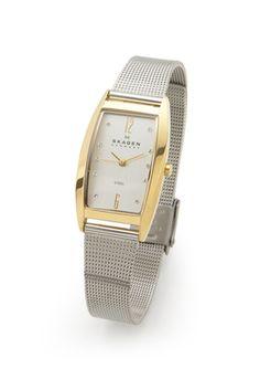 SKAGEN DENMARK Ladies Rectangular Case Mesh Watch Skagen Watches, Square Watch, Designer Collection, Denmark, Omega Watch, Mesh, Silver, Accessories, Fashion