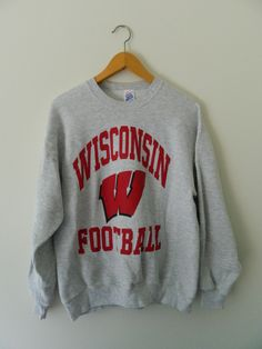 4f1d7740043 Wisconsin Badgers Football Vintage College Fashion Sweatshirt by  GreenBayGal on Etsy Wisconsin Badgers Apparel