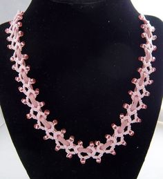 Pink illusions necklace by Darrington Designs/maybe lace with suede