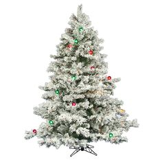 Vickerman 6.5-ft. Multicolor LED Pre-Lit Flocked Alaskan Pine Artificial Christmas Tree, White