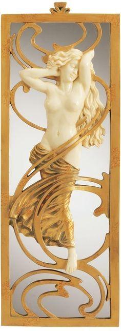 19th Century Replica Nude Female Statue Sculpture Art Nouveau Mirror Wa... : Modern Gallery