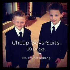 $19.99 Boys Suits. No, I'm not kidding. Why would we spend big bucks on something these kids are gonna outgrow in the next 8 minutes?! So impressed with this company!! #wedding #kids #suits #weddingsuits #cheap