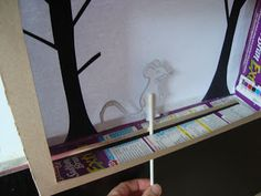 cereal box shadow puppet theater with gruffalo puppet printables link Gruffalo Activities, Activities For Kids, Shadow Play, Shadow Box, Puppet Show, Puppet Theatre, Diy For Kids, Crafts For Kids, Shadow Theatre