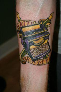 i like his coat of arms I Tattoo, Cool Tattoos, Awesome Tattoos, Tatoos, Typewriter Tattoo, Americana Tattoo, Black White Tattoos, Tattoo People, Literary Tattoos