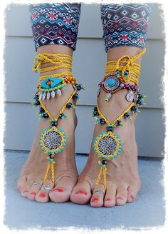 Yellow BAREFOOT SANDALS Mandala Yellow Black Wedding beaded Crochet sandals Foot Thongs foot jewelry Hippie Gypsy Bohemian bottomless shoes