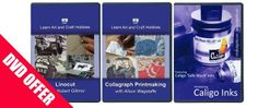 Set of 3 printmaking DVDs- Save £10 when you buy the set of 3 printmaking DVDs including: Caligo Safe wash inks DVD, Lino Printmaking with Robert Gillmor and Collagraph printmaking with Alison Wagstaffe.
