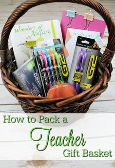 How to Pack a Teacher Gift Basket. Start the new school year off with a bang.  Welcome your child's new teacher to their classroom with this teacher gift.