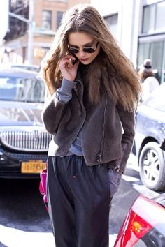 """Caroline Brasch Nielsen, Model """"My jacket and trousers are by 3.1 Phillip Lim and the glasses are vintage Ray Bans."""" 