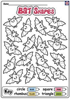 All the bats are different shapes! Shapes Worksheet Kindergarten, Shapes Worksheets, Kids Math Worksheets, Kindergarten Lessons, Thanksgiving Math Worksheets, Learning Websites For Kids, Halloween Worksheets, Fall Preschool Activities, Bats