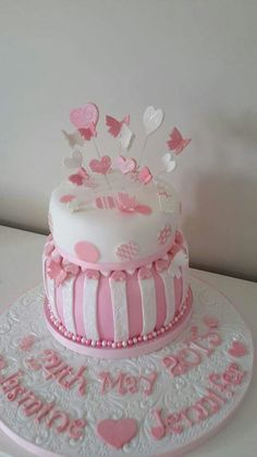 PInk Christening Cake with Spots, Stripes, Butterflies and Hearts