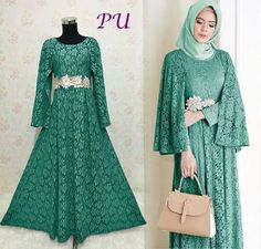 Gambar baju pesta brokat ratih hijau Islamic Fashion, Muslim Fashion, Modest Fashion, Fashion Dresses, Kebaya Dress, Hijab Dress, Hijab Style, Muslim Dress, Abaya Fashion