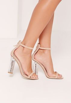 6cf49ebe5db Missguided - Block Heel Barely There Brown. See more. These heels are what  dreams are made of. In a nude shade with glitter detailing