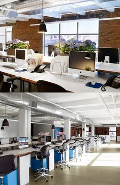 Open plan office with blue pedestals #openplanoffice Cubicles.com