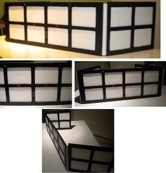 Ecran de MJ (maitre de jeu) pour L5A (L5R) en bois et tissu, façon paravent japonais.