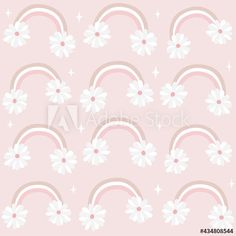 cute lovely romantic seamless vector pattern background illustration with rainbows and daisy flowers by Alice Vacca Daisy Flowers, Pattern Background, Cute Pattern, Vector Pattern, Graphic Design Illustration, Rainbows, Alice, Romantic, Image
