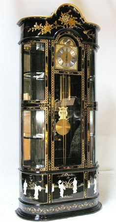 Oriental Furniture Grandfather Clock Cabinet Black Lacquer Mother of Pearl | eBay