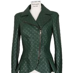 Alexander Mcqueen Dark Green Topstitched Leather Jacket ($5,820) found on Polyvore