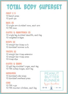 Peanut Butter Runner Total Body Superset Workout The benefits of single leg deadlifts and how to perform the exercise. Also, a new crossfit and superset strength workout. Hitt Workout, Gym Workouts, At Home Workouts, Weekly Workouts, Super Set Workouts, Total Body Workouts, Circuit Training Workouts, Workout Schedule, Hiit Workouts With Weights