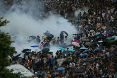 Peaceful and unarmed demonstrators, 28 Sept 2014, Hong Kong:  An idea of non-violent civil disobedience by occupying Central has been conceived for year as a means to press Beijing to keep her promise in the 1980s on democracy. Pro-Beijing group launched a campaign that the act of disobedience are violence and evil by nature. Appeal to citizens by threatening that Occupying Central could have inflicted catastrophic damage to the economy, livinhood, city image and public safety immediately…