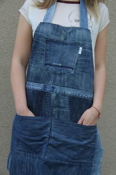 Upcycled denim apron by Yours Again Denim Aprons, Colored Denim, Black Denim, Overall Shorts, Jeans, Work Wear, Indigo, Overalls, Stylish