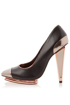Plasma premium leather metalic point insert heels from Topshop Pointed Heels, Stiletto Heels, High Heels, Shoes Heels, Stilettos, Heeled Mules, Heeled Boots, New Years Outfit, Old Shoes