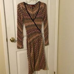 Amazing Missoni knit dress long sleeves V neck Excellent condition and flattering colors of black pink mauve cream grey Missoni Dresses