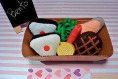 Handmade Felt Bento Box for Pretend Play - Bento box Set A -- Includes 2 Rice Balls(Onigiri) , 1 Broccoli, 1 Burger, 1 Salmon, 1 Egg Roll and 1 Sausage.