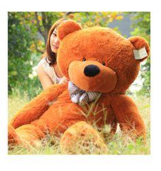 2014 Deep Brown Stuffed Giant Plush Teddy Bear Soft Cotton Toy - Go Shop Dolls Huge Teddy Bears, Giant Teddy Bear, Brown Teddy Bear, Band T Shirts, Ac Dc, Big Baby Dolls, Bear Bows, Teddy Day, Teddy Bear Pictures