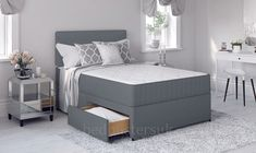 Grey Divan Bed with Memory Foam Mattress & Headboard Single Double Double Divan Bed, Double Beds, 4ft Beds, Hight Light, Divan Sets, Ottoman Storage Bed, Bed With Drawers, Under Bed, Molde