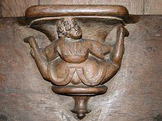 Miséricorde représentant « La satire des baladins ». - Stalles de la Basilique Saint-Materne (XVIe siècle) - Walcourt (Belgique).  Date13 April 2009