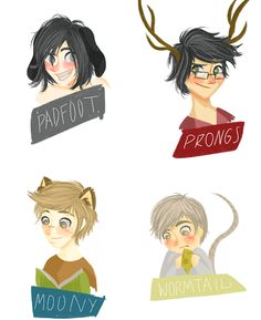 Messrs. Moony, Wormtail, Padfoot, and Prongs - Magical Mischief-Makers.
