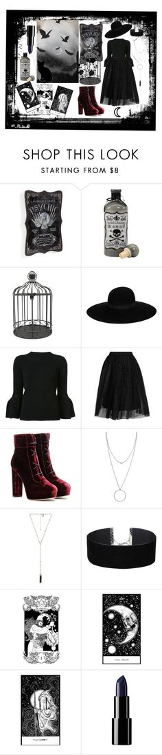 """""""Something Wicked this Way Comes.."""" by prettybluebat ❤ liked on Polyvore featuring Grandin Road, Reverie, Maison Michel, Carolina Herrera, Topshop, Jimmy Choo, Botkier, Natalie B and Miss Selfridge"""