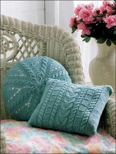 FREE PTRN DOWNLOAD: INTERMEDIATE KNITTING. 'Cables Square & Round' Pillows. YARN: Wool worsted weight (210yds/100g per skein): 2 skeins light turquoise. SIZE: 12-in sq & 12-in rnd.