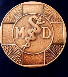 Vintage Albert Gillies 3-D Copper Plaque MD Physician Caduceus Snake Doctor RARE