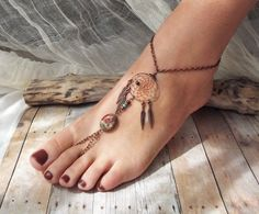 Dreamcatcher anklet nails jewelry hipster pretty feet dream ankle catcher toes