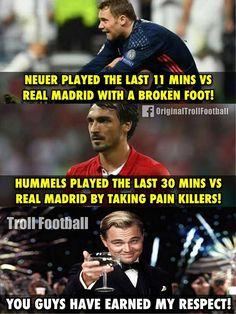 """""""Massive Respect to Manuel Neuer & Mats Hummels """" Football Jokes, Watch Football, Football Soccer, Fifa, Funny Soccer Memes, Mats Hummels, Dfb Team, Fc Bayern Munich, Robert Lewandowski"""