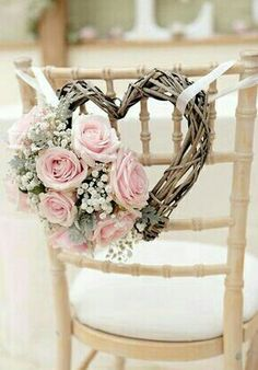 Diy wedding decorations gorgeous wedding chair decorations with pink roses and heart shaped wreath diy wedding . Wedding Chair Decorations, Wedding Chairs, Wedding Table, Heart Decorations, Romantic Decorations, Wedding Themes, Wedding Centerpieces, Romantic Ideas, Wedding Chair Covers