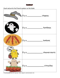 french worksheets - Halloween